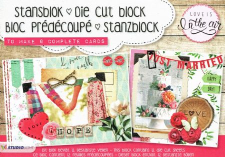 Love Is In The Air 3D Die Cut Decoupage A5 Block  By Studio Light